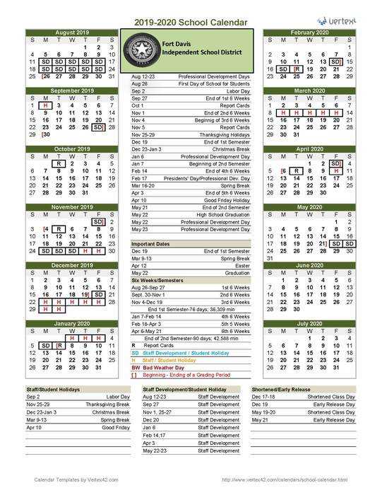 Updated '19-'20 District Calendar