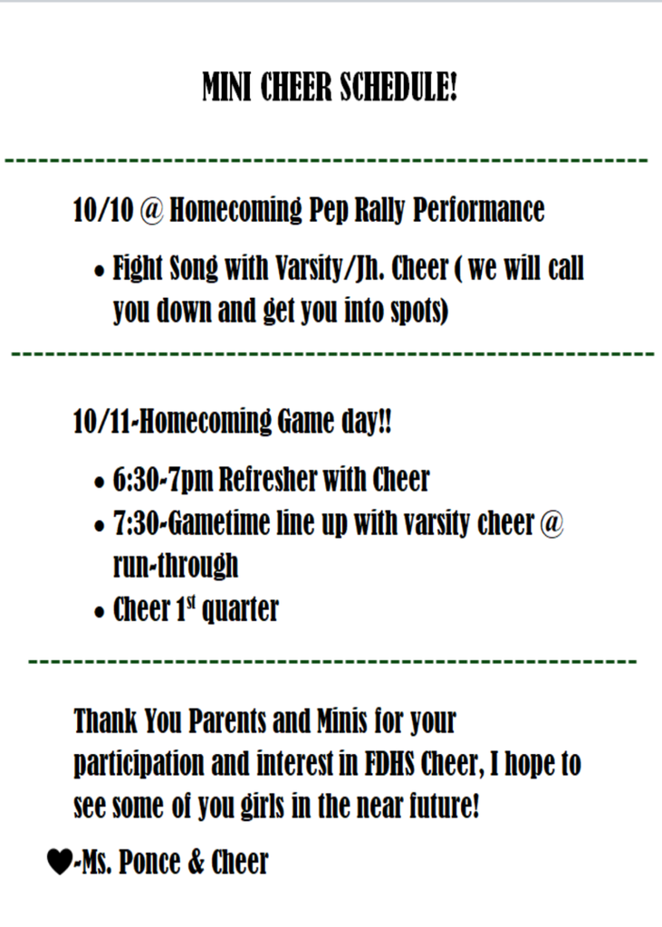 Mini Cheer Schedule
